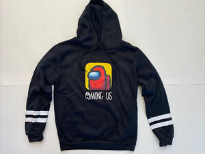 Among Us Game Black Hoodie Cartoon Print Youth XL or Womens Small US SELLER