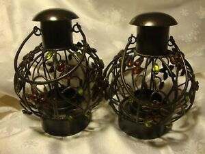 Set (2) Black Wrought Iron Metal Round Tealight Candle Holders~Gems~Handles  376