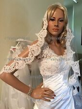Alencon lace veil in fingertip length with lace edge design in Ivory and white