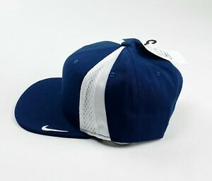 Nike Pro Aerobill Flex Cap Tech Swoosh Snap Back Cap BV2508 Navy Blue White Hat