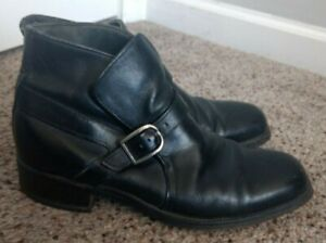 Vintage 70s Mens Sears Black Leather Buckle Mod Rock Boots Size 8.5 D Made In US