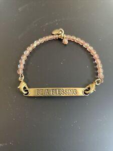 Lenny & Eva Sentiments Charm & Pink Beaded Bracelet Be A Blessing