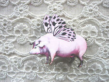 WOOD WOODEN FLYING PINK PIG BROOCH PIN  .... QUIRKY /  KITSCH / VINTAGE LOOK