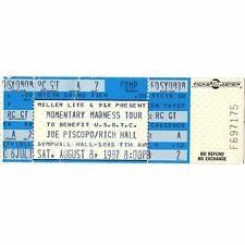 Joe Piscopo & Rich Hall Full Concert Ticket Stub San Diego 8/8/87 Symphony Hall