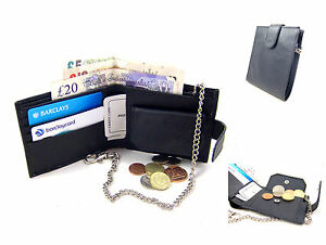MENS BLACK LEATHER WALLET BIFOLD KEY CHAIN CREDIT CARD RFID PROTECTED