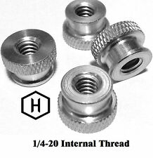 """1/4-20 x 3/8"""" Knurled Thumb Nut (10 Pieces) Aluminum Silver Anodize"""