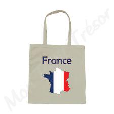 Sac Femme coton blanc Carte de la France drapeau français