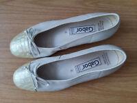 Damen Schuhe Ballerinas Slipper GABOR Gr 39 UK 6 Weite creme beige Leder Top