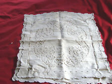Vintage 20s Pillowcase Sham Embroidery Lace Gc Coronation Cord 20x21 Clovers