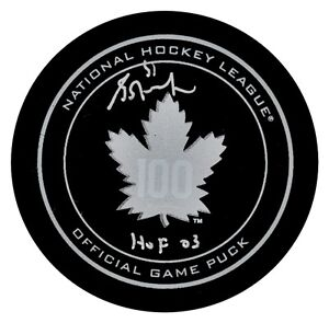 GRANT FUHR AUTOGRAPHED TORONTO MAPLE LEAFS 100TH ANNIVERSARY GAME PUCK W/HOF 03