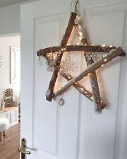 Rustic LED Snowy Birchwood Hanging Christmas Star Wreath With Decoration 51cm