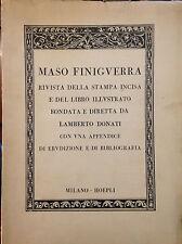 FINIGUERRA, RIVISTA DELLA STAMPA INCISA E DEL LIBRO ILLUSTRATO...HOEPLI, IV 1939