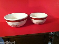 "Pair of Red & White Nested Oven-Serve Pottery China Mixing Bowl 7.5"" & 8.5"""
