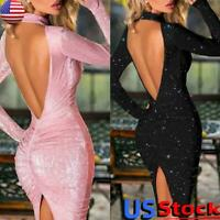 US Women's Sexy Sequin Backless Skinny Dress Ladies Evening Party Bodycon Dress