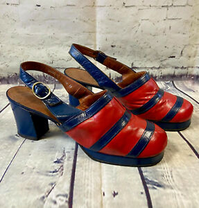 70s Vintage Shoes   70s Vintage Navy & Red Block Slingback Heels UK 4.5/EU 37.5