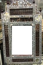 Wall Mounted Mirror Wood Frame Inlaid Mother of Pearl & Arabesque