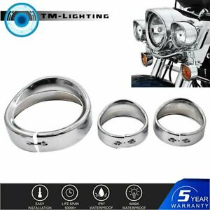 "4.5"" Chrome Auxiliary light Visor Style Trim Ring+ 7'' Headlight Trim For Harley"