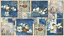 Feather Your Nest Quilt panel Fabric Cotton Chickadee Birds Dogwood Nancy Mink