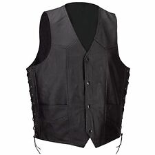 Mens-Soft Leather-Vest-w-Dual-Inside-Concealed-Weapon-Pockets w/ Seamless Back