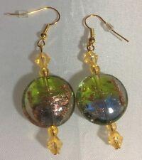 NWOT Handmade Pierced Earring Light Blue Green Gold Venetian Glass with Acrylic