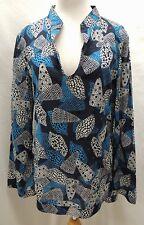 Tori Burch Sequined Black and Blue Seashell Semi Sheer Tunic Shirt 8