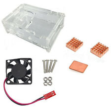 Clear Acrylic Case + Cooling Fan Copper Heatsink Kit for Raspberry Pi 3 Model JF