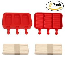 2 pcs 3 Cavities Silicone Cute Ice Pop Mold Ice Cream Maker Mold Popsicle Mold