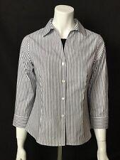 JONES NEW YORK SIGNATURE Easy Care Wrinkle Resistant Black/White Stripe Blouse