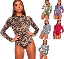 Womens Turtleneck Long Sleeve Animal Camo Tartan Print Bodysuit Ladies Leotard