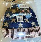 NWT Muk Luks Adult Headlamp Beanie Cap Americana Patriotic Stars Stripes