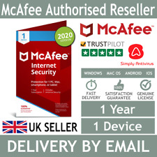 McAfee Internet Security 2020 1 Device 1 Year - 5 Minute Delivery by Email*