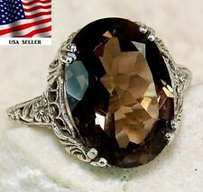 5CT Smoky Topaz 925 Solid Sterling Silver Art Deco Filigree Ring Jewelry Sz 9