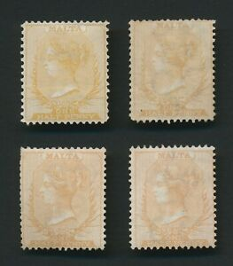 MALTA STAMPS 1863-1867 QV 1/2d SHADES x4 MINT WITH GUM, F/VF