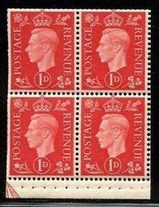 Great Britain 1937 1d Scarlet George VI Booklet Pane Sc# 236c mint