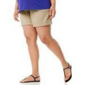 Motherhood Maternity Shorts Secret Fit Belly Twill Tab Cuffed Khaki $40-Size S
