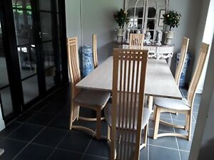 solid travertine marble dining table 170x100cm with 6 Chairs with silk covers