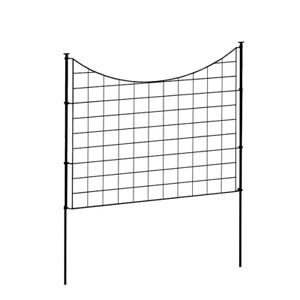 2.08 ft. H x 2.46 ft W Zippity Black Metal Garden Fence Panel with Stakes