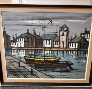 Singed gerard painting oil on canvas Harbour Near Bordeaux