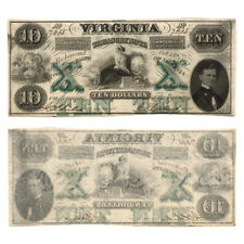 Virginia Treasury Note $10 October 15 1862 Criswell 11 Rarity 7 Extra Fine- Wate