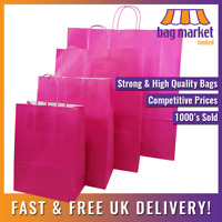 Strong Pink Twisted Handle Paper Bags | Carrier/Shop/Gift/Fashion/Party/Kraft