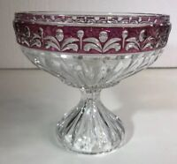 "Glass Ruby & Clear Candy Dish 5.25"" T X 5.75"" W (K)"