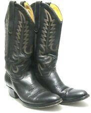 Larry Mahan El Paso  Men's Black Soft Leather Cowboy Boots Mens Size 8D