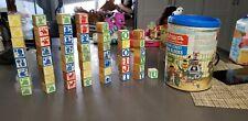 1975 playskool Jim Henson Sesame Street Wood Blocks ABC incomplete w/extra