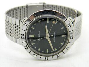 Vintage 1963 Bulova Accutron Astronaut GMT 214 Wrist Watch M3 ~Bulova Bracelet~