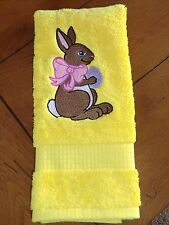 Embroidered Terry Hand Towel - Easter - Easter Bunny on Yellow Towel
