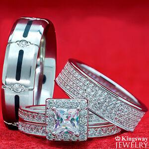 Simulated Diamond ENGAGEMENT WEDDING 4 Rings Women Sterling Silver Men Titanium