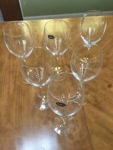 6 - Luigi Bormioli Academia Crystal Wine Goblets, Signed