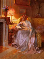 Oil painting delphin enjolras - young girl lady beauty reading near the lamp art