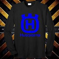 Husqvarna Motorcycle Racing Sport Logo Long Sleeve Black T-Shirt Size S to 3XL