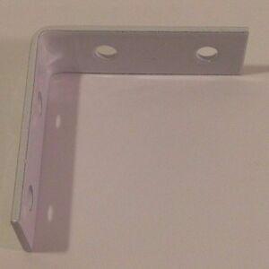 2 x 2 White Bracket L Angle Iron Corner Brace Joint  Metal Instal Shelf Cabinet